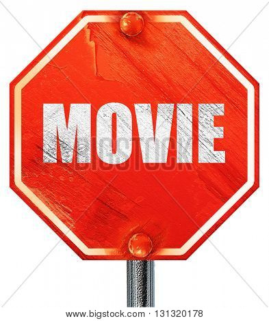 movie, 3D rendering, a red stop sign