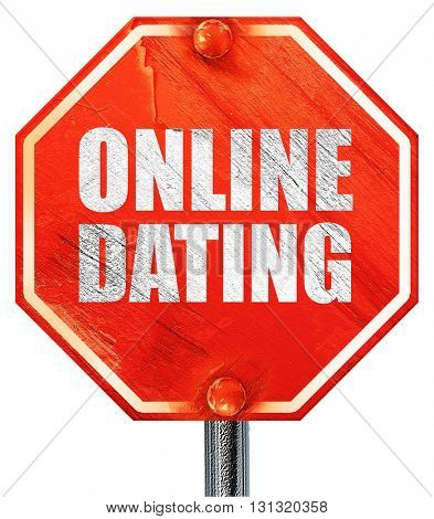 online dating, 3D rendering, a red stop sign