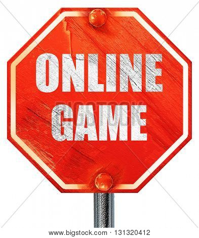 online game, 3D rendering, a red stop sign