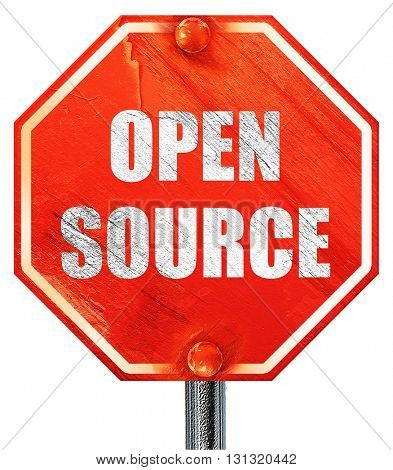 open source, 3D rendering, a red stop sign