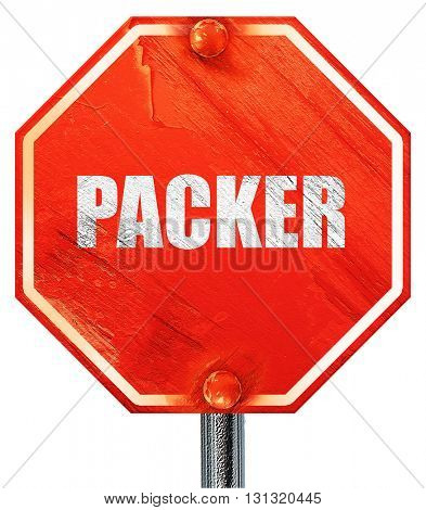 packer, 3D rendering, a red stop sign