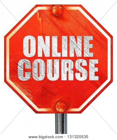 online course, 3D rendering, a red stop sign