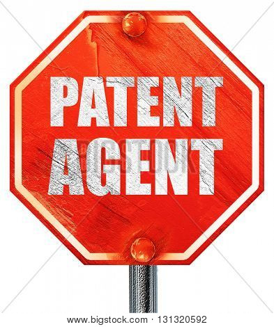 patent agent, 3D rendering, a red stop sign