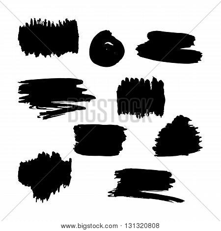 Hand drawn black paint brush strokes. Scribble stains hand drawn shapes isolated on a white background. Grungy hand drawn box. Vector design elements