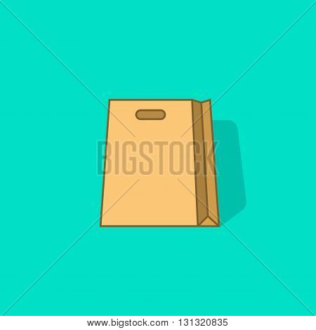Shopping bag vector icon isolated, flat paper shopping bag empty with shadow, cartoon outline line style