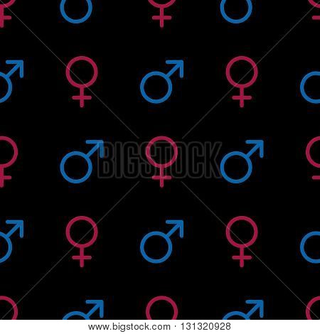 Vector seamless pattern. Male and female symbols on black background. Gender line icons