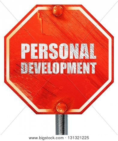 personal development, 3D rendering, a red stop sign
