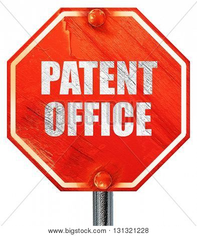 patent office, 3D rendering, a red stop sign