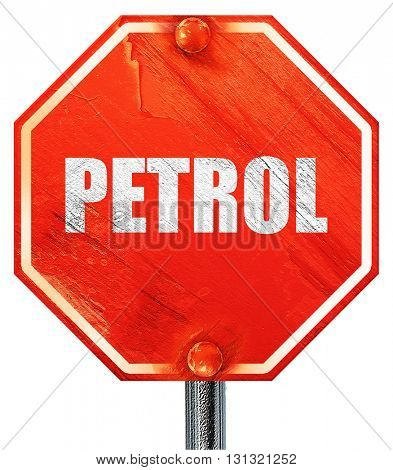 petrol, 3D rendering, a red stop sign