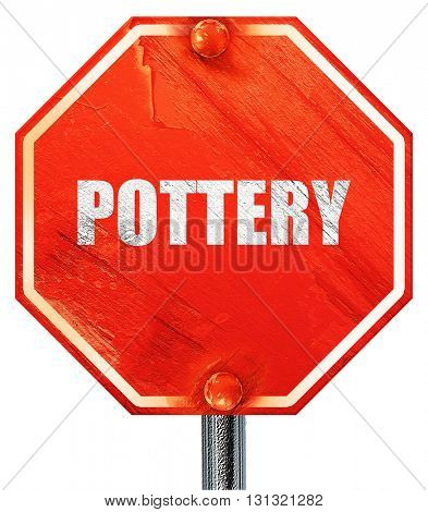 pottery, 3D rendering, a red stop sign