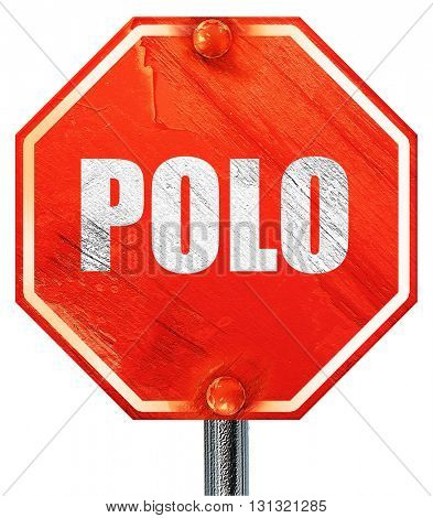 Polo, 3D rendering, a red stop sign