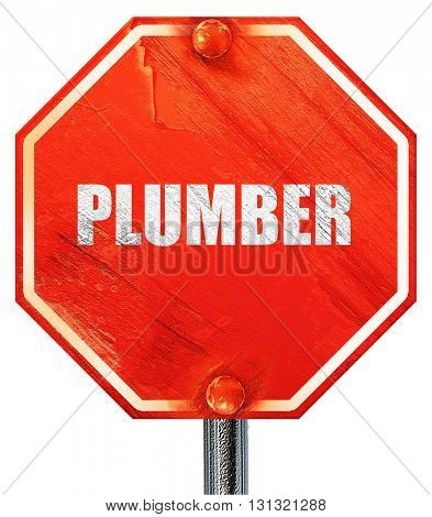 plumber, 3D rendering, a red stop sign