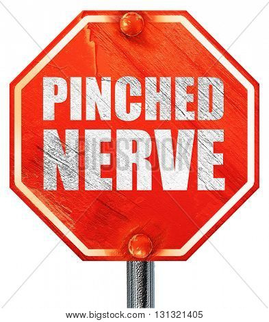 pinched nerve, 3D rendering, a red stop sign