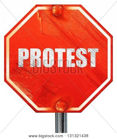 protest, 3D rendering, a red stop sign