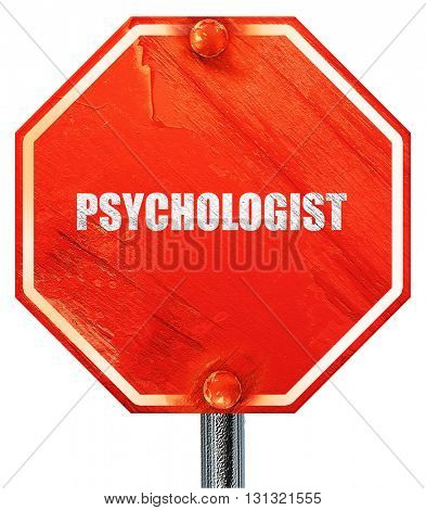 psychologist, 3D rendering, a red stop sign