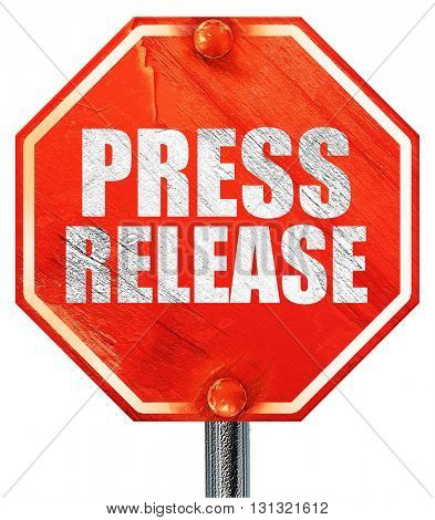 press release, 3D rendering, a red stop sign