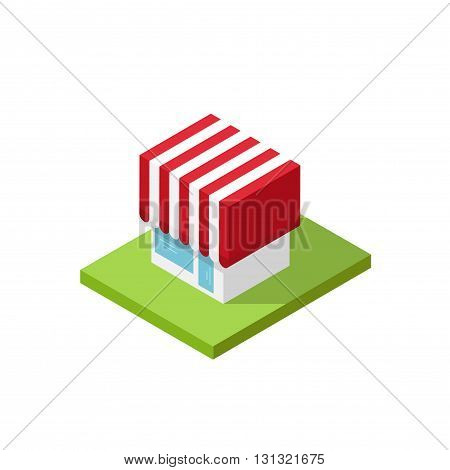 Shop isometric vector illustration isolated on white background, 3d store building simple