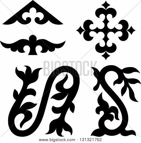 Traditional elements of Kyrgyzstan Kazakhstan for your design. Silhouette objects