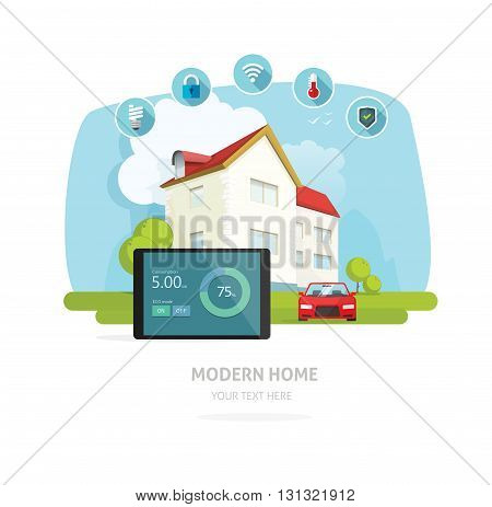 Smart home vector illustration, flat smart house technology system concept, eco energy automation for home banner design