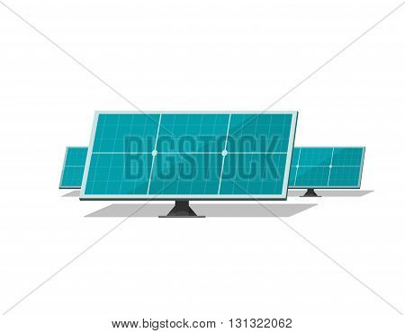 Solar panels vector isolated on white background, blue flat solar cells group