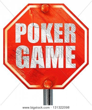 poker game, 3D rendering, a red stop sign