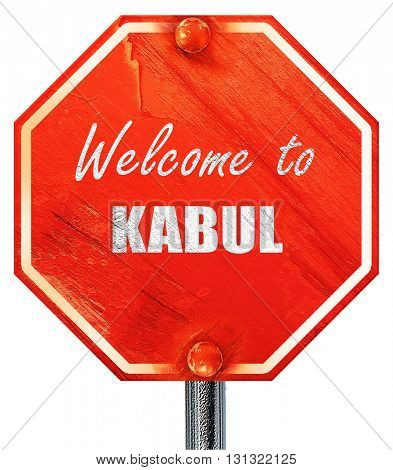 Welcome to kabul, 3D rendering, a red stop sign