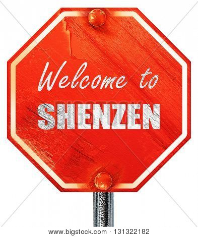 Welcome to shenzen, 3D rendering, a red stop sign