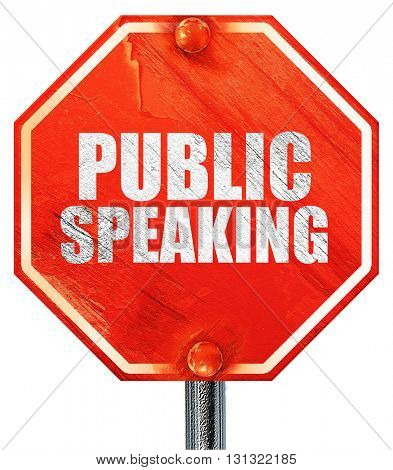 public speaking, 3D rendering, a red stop sign