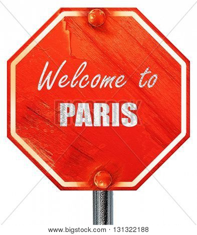 Welcome to paris, 3D rendering, a red stop sign