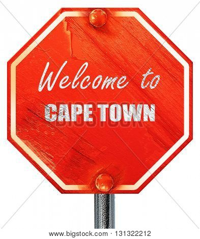 Welcome to cape town, 3D rendering, a red stop sign