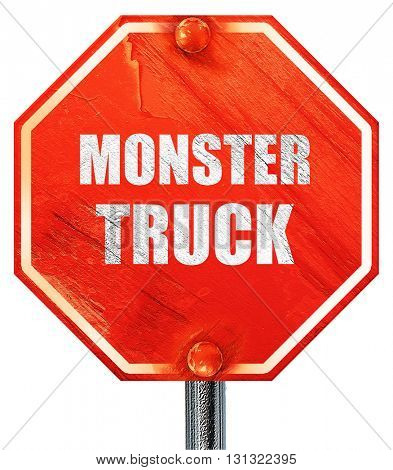 monster truck sign background, 3D rendering, a red stop sign