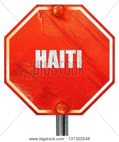 Greetings from haiti, 3D rendering, a red stop sign