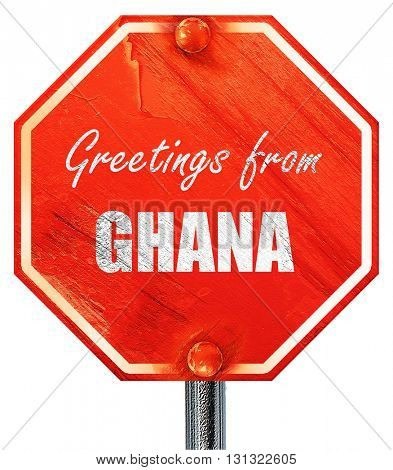 Greetings from ghana, 3D rendering, a red stop sign