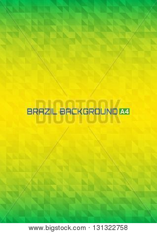 Abstract digital background using Brazil flag colors, a4 format. Abstract pixels vector template A4 size design, brochure, Web, page, leaflet, with Brazil colored geometric shapes.
