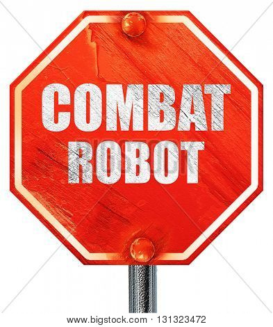 combat robot sign background, 3D rendering, a red stop sign