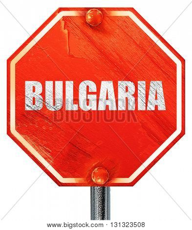 Greetings from bulgaria, 3D rendering, a red stop sign