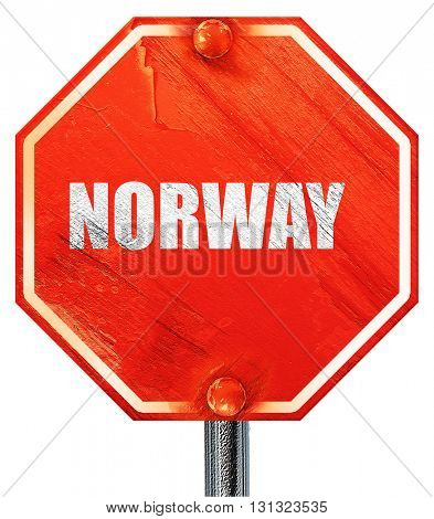 Greetings from norway, 3D rendering, a red stop sign