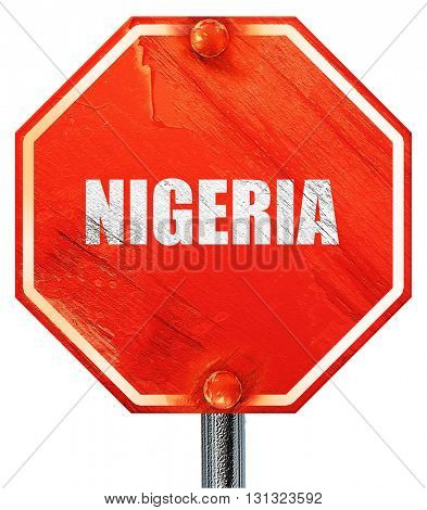 Greetings from nigeria, 3D rendering, a red stop sign