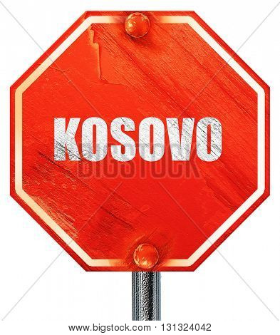 Greetings from kosovo, 3D rendering, a red stop sign