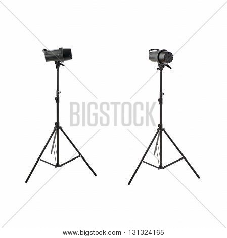 Set of Closed studio flash on a stand over isolated white background