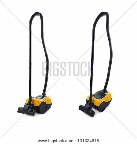 Set of Yellow Vacuum cleaner over isolated white background
