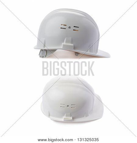 Set of Plastic white safety helmet over isolated white background