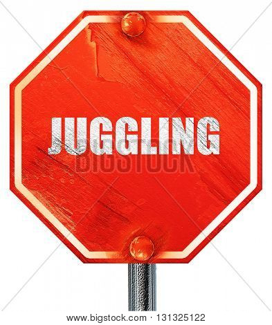 juggling sign background, 3D rendering, a red stop sign