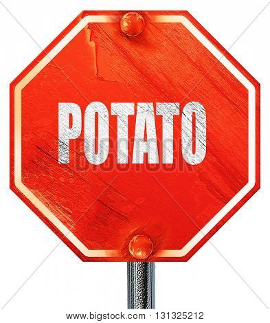 Delicious potato sign, 3D rendering, a red stop sign
