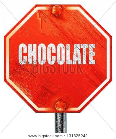 Delicious chocolate sign, 3D rendering, a red stop sign