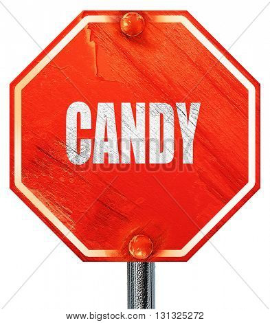 Delicious candy sign, 3D rendering, a red stop sign