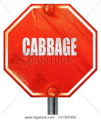 Delicious cabbage sign, 3D rendering, a red stop sign