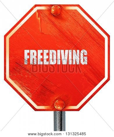 freediving sign background, 3D rendering, a red stop sign