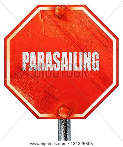 parasailing sign background, 3D rendering, a red stop sign