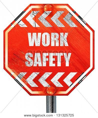 Work safety sign, 3D rendering, a red stop sign